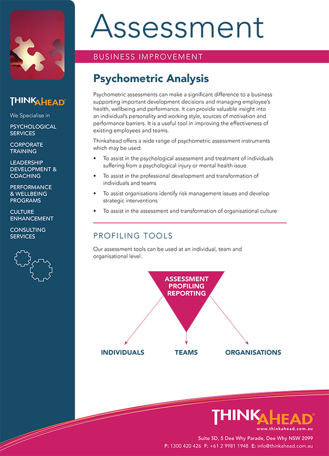 Psychometric Assessments And Psychologist In Sydney Thinkahead